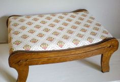 Foot Stool Wood Footstool Wooden Upholstered by chloeswirl on Etsy, $37.00
