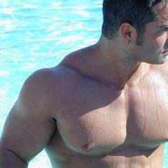 Joey, poolside.