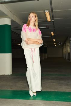 tulle top with contrasting embroidery