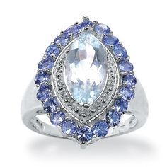 2.35 CT TW Aquamarine and Tanzanite Ring in Sterling Silver  Aquamarine is my birthstone,  march is also a beautiful Blood Stone.......