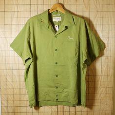 King Louie Holiday/60sUSA製ビンテージ古着ライトグリーンフロッキープリントボウリングシャツ・半袖シャツ/メンズLサイズ