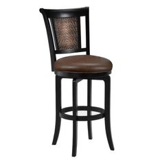 Hillsdale Furniture Cecily Swivel Bar Stool with Br0wn Vinyl - Completely KD Base-4887-830 at The Home Depot