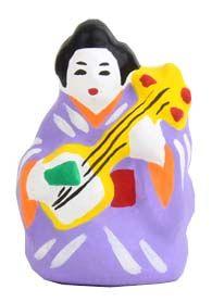 夜長堂 土人形 / 三味線ねーさん: clay doll, woman playing the shamisen