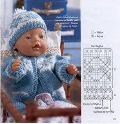 Knitting Paterns, Knitting Books, Knitting Designs, Baby Knitting, Baby Born Clothes, Bitty Baby Clothes, Teddy Bear Clothes, Knitting Dolls Clothes, Knitted Dolls