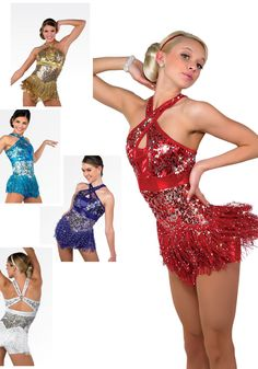 S051 - That's It - Jazz it up for your next competition in this sequin shortall with fringe skirt. Comes in Plum Purple, Red, Turquoise, White and Gold.