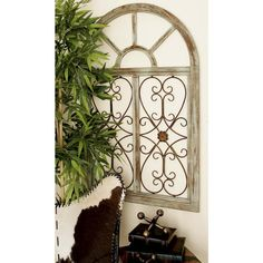 29 in. x 46 in. Rustic Brown Wood and Metal Arched Window Wall Decor, Browns/Tans