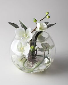 Decorating. Beautiful And Creative Asian Floral Arrangements Ideas. John Richard Collection Sunken Orchid Faux Floral Arrangement Featuring Beautiful Table Centerpieces Ideas And Bowl Glass Clear Vase