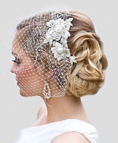 Beaded Bridal Hair comb with Birdcage Veil! I like that! -Elaine