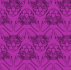 Sphynx lines fabric Purple fabric by glamourpuss on Spoonflower - custom fabric