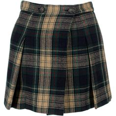 Vivienne Westwood Anglomania Callas Kilt (1,995 PEN) ❤ liked on Polyvore featuring skirts, mini skirts, short plaid skirt, plaid mini skirt, pleated skirts, plaid miniskirts and wool skirt