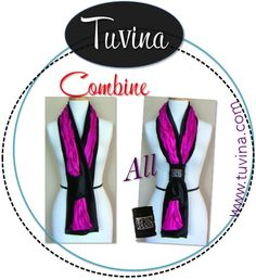 Combine Tuvina with Tuvina Tux & Kuff. Black Mink Faux with Pink Satin Insert. www.tuvina.com Patents Pending. Handmade in USA