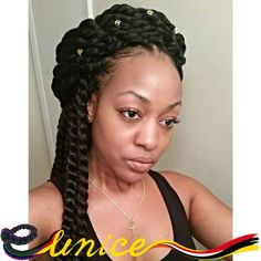 Janet Collection Full Size Havana Mambo Twist 2pcs Synthetic Brading Hair, Senegalese Twists Crochet Braids Black Hair Extension