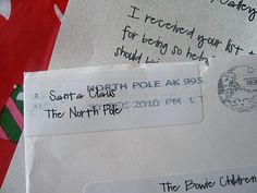 You put a stamped letter from Santa ;)  inside a bigger envelope   & mail it BY DECEMBER 10th to:     NORTH POLE HOLIDAY CANCELLATION  POSTMASTER  4141 POSTMARK DR  ANCHORAGE AK 99530-9998     In a week or two you'll get your Santa letter back   with a North Pole postmark!  So cool!