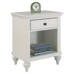 Marrying Old World tropical and British traditional styles, this timeless nightstand features a brushed white finish and antiqued hardware. Displaying chic b...