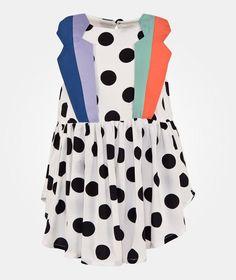 BANG BANG Copenhagen Ladybird Mekko White White w. Black dots