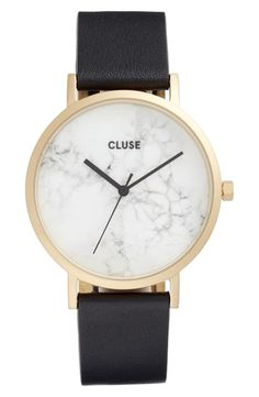 Cut from genuine marble, the face of this sleek leather strap watch is completely unique, with a numberless dial putting full focus on the natural veining pattern.