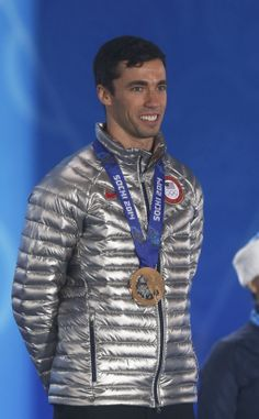#Sochi2014 #TeamUSA's Matthew Antoine of the United States of America after receiving the Bronze medal during the medal ceremony for Men's Skeleton Singles during the Sochi 2014 Olympic Winter Games at the Medals Plaza.