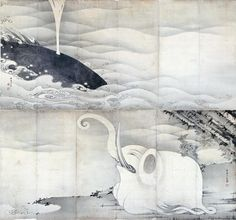 伊藤若冲「象と鯨図屏風」(1797) Elephant and Whale pair of folding screens. Ito Jakuchu. Miho Museum.