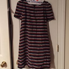 Red white and blue striped dress Perfect 4th of July dress! This silk red, white, and navy dress. It is a great summer dress! Has beautiful detail in front with button and slit. J. Crew Dresses