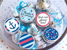 Printed for you custom baby shower hershey kiss labels Anchor Birthday party favors Baby boy Navy Nautical theme by Juissip
