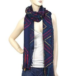 Blue and Multi Colored Zig Zag Acrylic Scarf
