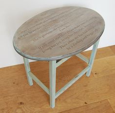 I love her, bugger off.  Objectables. Upcycled table