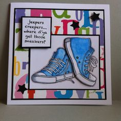Blue sneakers, Woodware stamp