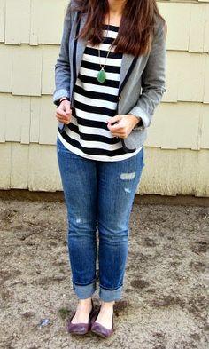 Target piped grey blazer + Ann Taylor striped top + LOFT jeans