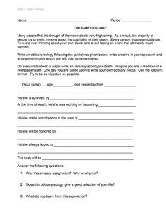 How To Write A Short Obituary A Template Free Short Obituary