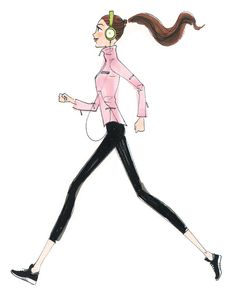 Walk it out Paris Illustration, Music Illustration, Fashion Art, Autumn Fashion, Illustration Mignonne, Buch Design, Runner Girl, My Beauty, Fashion Sketches