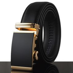 Business Belts For Men Ceinture Luxury Genuine Leather Belt Gold Automatic Belt Buckle Men Jeans Cowboy Strap 130cm KA007