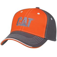 CAT Hats - CAT Caps - Caterpillar Merchandise - CAT Caterpillar Charcoal Gray and Orange Caps