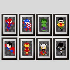 8 super hero PRINTS, Super hero wall decorations or playroom wall art, kids room super hero decor, shipped to your door