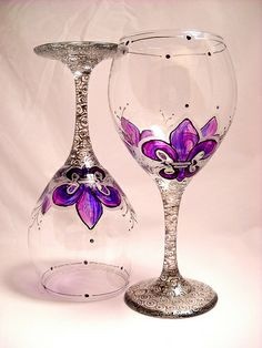 Amethyst Fleur de lis hand painted wine glasses I absolutely love these:)