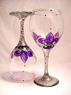 Amethyst Fleur de lis hand painted wine glasses