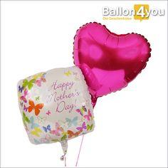 Muttertagsbukett mit Herz       Ein großer Ballongruß zur Überraschung am Muttertag. Viele fliegende bunte Schmetterlinge begleiten die frohe Botschaft für Ihre Mama. Der pinke Herzballon unterstreicht dabei die romantische Geschenkidee zum Muttertag. Beide sind bereits heliumgefüllt für den Versand bereit. Und wenn Sie es wünschen, dann legen wir noch Süßigkeiten und eine Grußkarte in den riesigen Umkarton bei, der Teil dieser Geschenkidee ist.