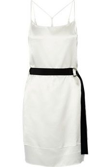 Helmut Lang Dr. Mere belted layered silk-satin mini dress