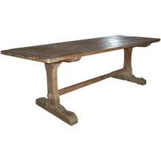 Early American Rustic Trestle Table