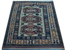 "Vintage Turkish Kilim Rug Carpet, Handmade persian, Antique  Rug, USHAK Tribal rug , Natural Wool  4'3""  X 3'   130  CM X 93 CM"
