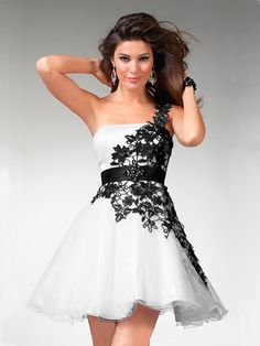 Funky Appliques One Shoulder Beading Sash Organza Satin Prom Dress Black And White Prom Dresses, White Wedding Dresses, White Dress, White Lace, Black White, Dress Black, Dress Wedding, White Satin, Lace Wedding