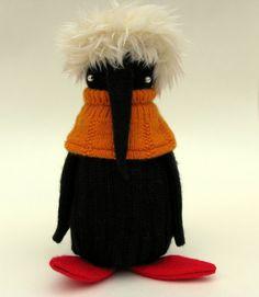 Black Woollen Penguin  Handmade plush by skippityhopcreatures, £38.00