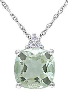 10K White Gold Cushion Green Amethyst & Diamond Cluster Pendant Necklace