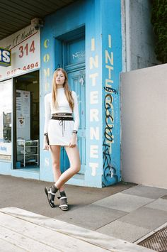 Shallowww top, vintage skirt, Adidas x Opening Ceremony sandals