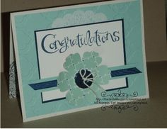 Congrats Card-- Stamps: Sassy Salutaions Paper: Naturals White, Pool Party, Night of Navy, Whisper White, Quartrafancy DSP Ink: Night of Navy Other: Big Shot, Modern Mosaic Embossing Folder, Doily, 1/4 Grosgrain Ribbon-Navy, Button, Bakers Twine, Blossom Punch