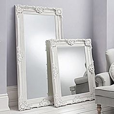 Plain White Baroque Floor Mirror Rococo Shabby Chic Huge Leaning P ...