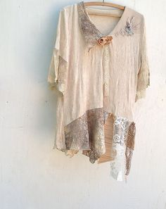 shabby mountain forest blouse ecru lace velvet off by kateblossom, $70.00