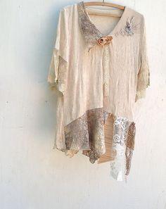 shabby mountain forest blouse ecru lace velvet off by kateblossom,
