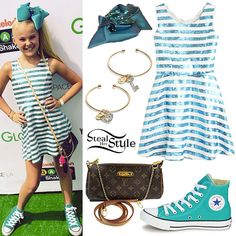jojo swia | JoJo Siwa: Sequin Stripe Dress, Hair Bow | Steal Her Style