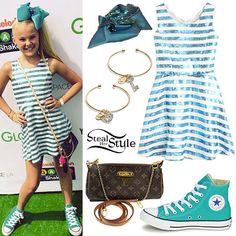 jojo swia | JoJo Siwa: Sequin Stripe Dress, Hair Bow | Steal Her Style