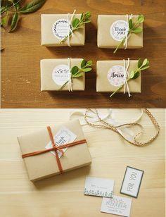 nice packaging ... kraft paper, stickers, twine or ribbon